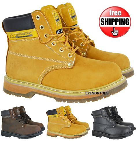 comfortable steel toe cap boots mens comfort work safety boots non slip sole leather steel