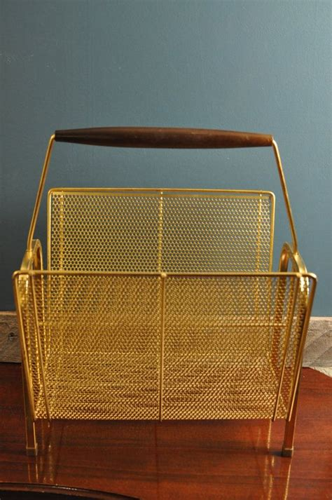 vintage brass log holder magazine rack fireplace mod accessory