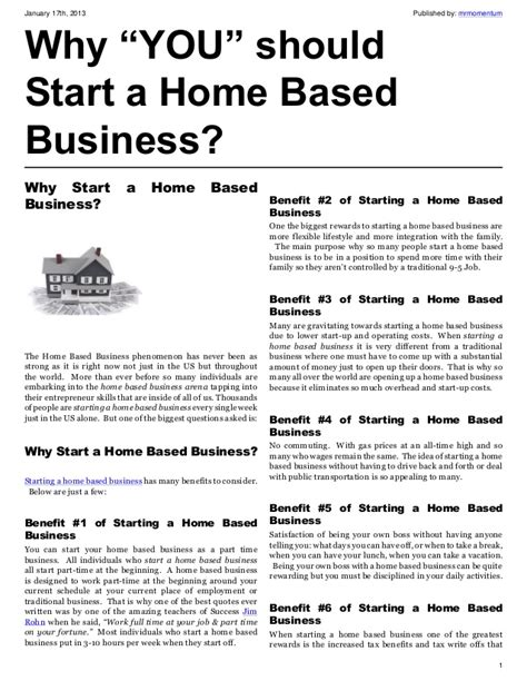 start business from home why you should start a home based business