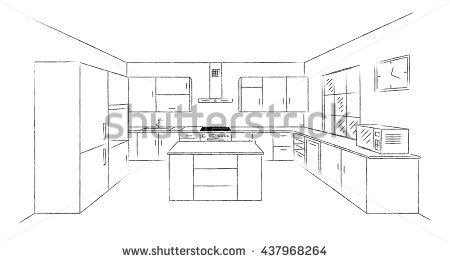 sketch drawing of a kitchen with island google search sketch hand drawing kitchen interior plan with island