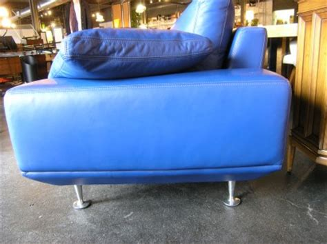 Blue Italian Leather Sofa Blue Italian Leather Sofa Mjob