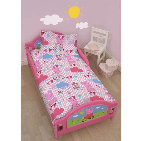 peppa pig bed linen peppa pig 4 in 1 junior cot bed bedding bundle set duvet