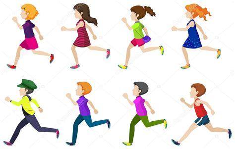imagenes niños corriendo sin rostro grupo de ni 241 os corriendo vector de stock