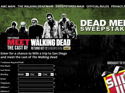 Amc Play Dead Sweepstakes - amc dead meet sweepstakes