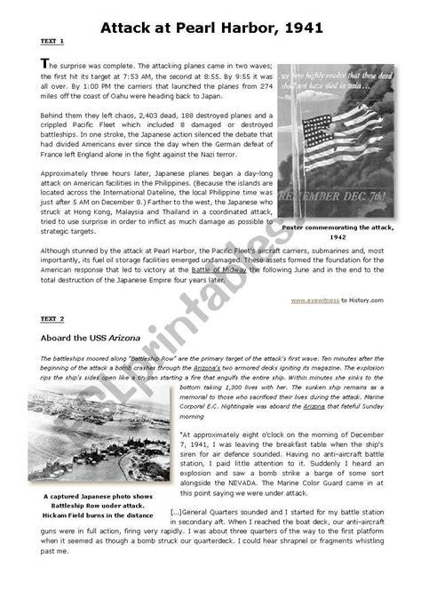 Pearl Harbor Worksheet Pdf
