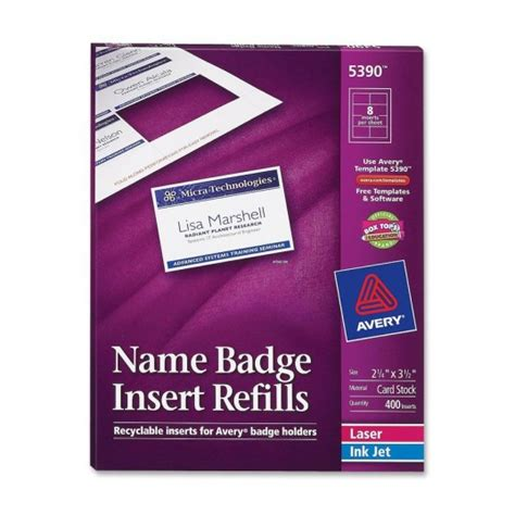 name badge insert template avery plain insert badge refill ld products