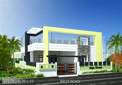 Floor Plan Single Storey Bungalow by Way2nirman 220 Sq Yds 36x55 Sq Ft West Face House 2bhk