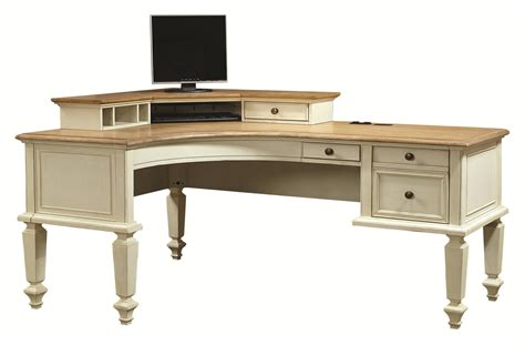 L Shape Corner Desk Curved Half Pedestal L Shaped Desk And Corner Hutch With 1 Drawer By Aspenhome Wolf And