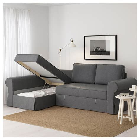 backabro sofa bed with chaise longue nordvalla grey ikea