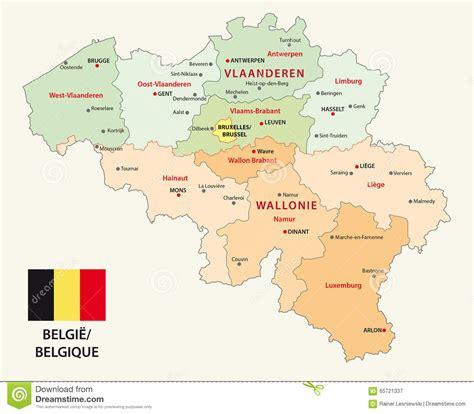 belgium provinces map belgium administrative map with flag stock vector