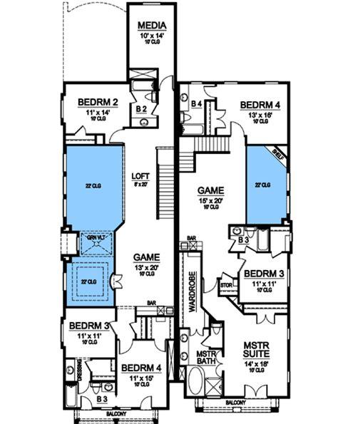 mediterranean duplex house plans asymmetrical mediterranean duplex 36354tx 1st floor master suite butler walk in