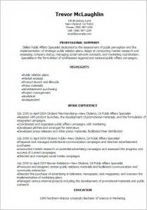 Student Affairs Officer Sle Resume by Professional Affairs Specialist Templates To Showcase Your Talent Myperfectresume