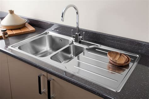 sink in the kitchen chrome or brushed steel finish kitchen tap for your