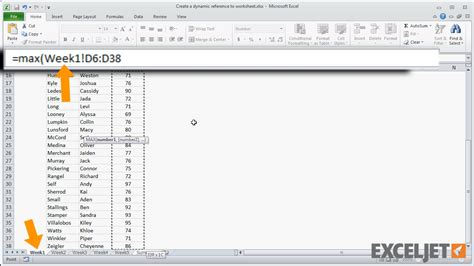 excel jet tutorial excel tutorial create a dynamic reference to a worksheet