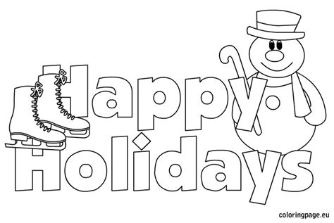 Happy Holidays Coloring Page happy holidays coloring pages coloring pages