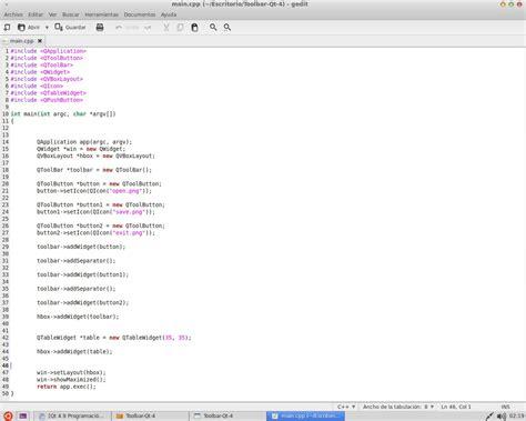 qt toolbar tutorial qt 4 9 programaci 243 n programa sencillo toolbar tabla