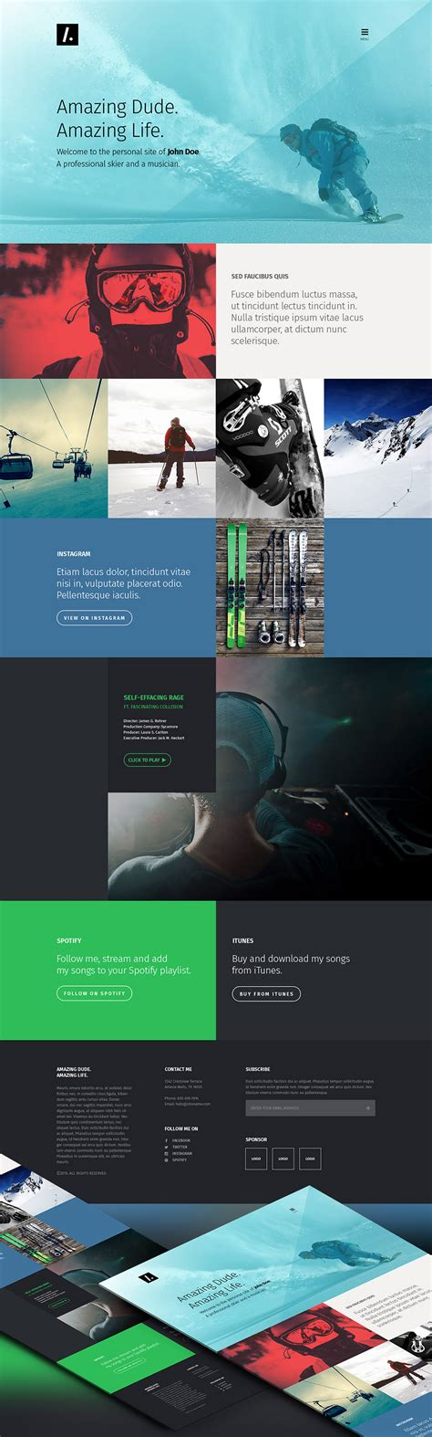 One Page Personal Portfolio Website Template Free Psd At Downloadfreepsd Com Free Portfolio Website Templates