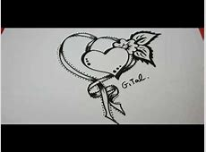 How To Draw Ribbon With A fancy Heart And Flower - YouTube Easy Drawings Of Hearts With Ribbons
