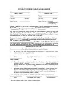 pay or quit notice template nevada 5 day notice to pay rent or quit ez landlord forms