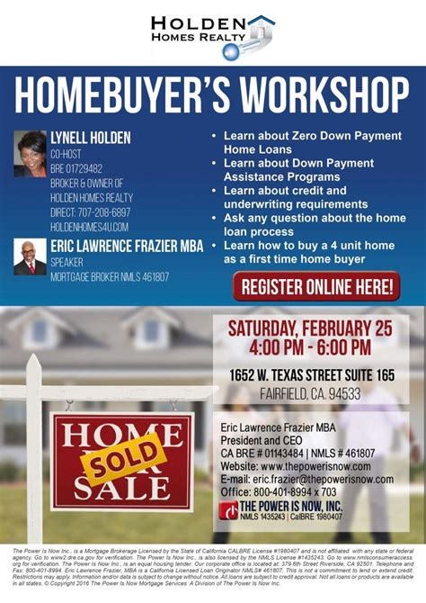 Fairfield U Mba Requirements by Homebuyer S Workshop Lynell Holden The Power Is Now