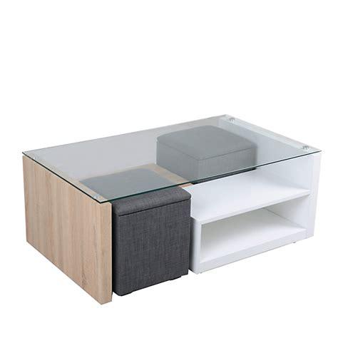 table basse avec 2 niches de rangement et 2 poufs coffre