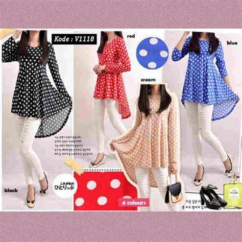 Baju Blouse Sabrina Polka baju gamis blouse wanita motif polka v1118 atasan modis