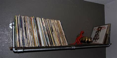 diy record shelf metal pipe   pine board great