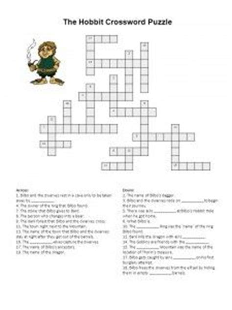 printable crossword puzzle for english learners the hobbit crossword puzzle free printable learning