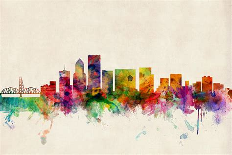 portland oregon skyline digital art by michael tompsett