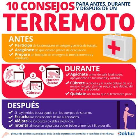 afiches de un sismo 10 consejos para antes durante y despu 233 s de un terremoto