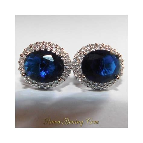 Anting Dewasa Elegan Earring Biru jual anting wanita gold filled 18k oval cut biru elegan