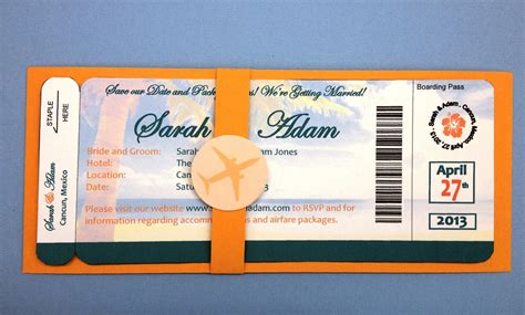 Plane Ticket Wedding Invitation Template plane ticket save the date invitation personalized by