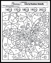 butterfly math coloring page numbers 16 20 colouring pages