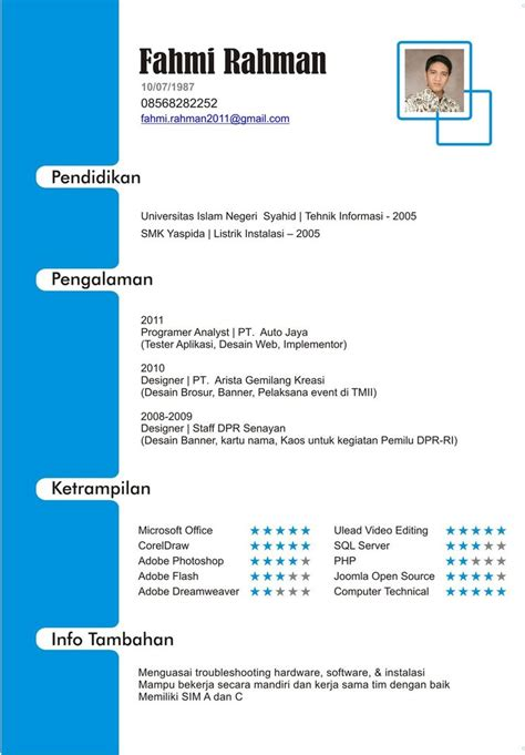 Curriculum Vitae Format Doc File Indonesia Biru Cv Indonesia By Faigates On Deviantart