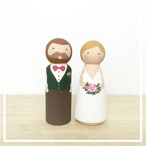 Handmade And Groom Cake Toppers - painted custom and groom wooden peg doll cake