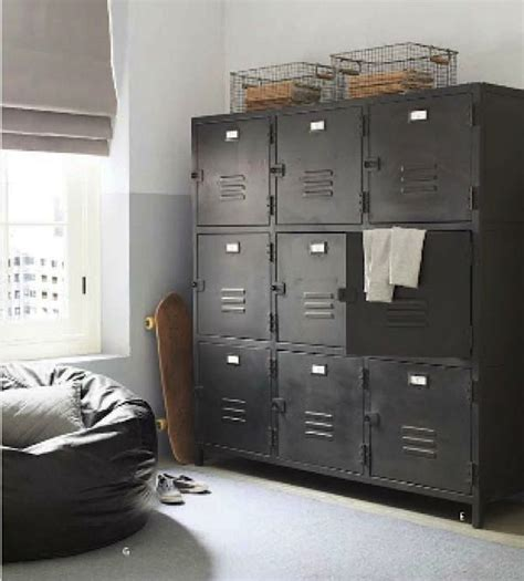 ways to use metal lockers in kids rooms storage