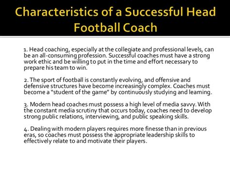 characteristics of a successful football coach by