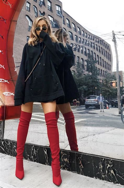 oversized hoodie red boots thigh highs trendy unique