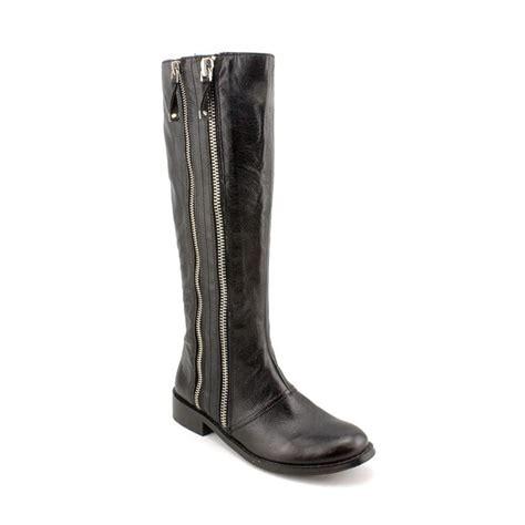 tahari tahari andy leather black mid calf boot boots