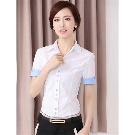 Blouse Shifon Tangan Pendek Kerah Kemeja Korean Style kemeja wanita lengan pendek model terbaru t1714 moro fashion