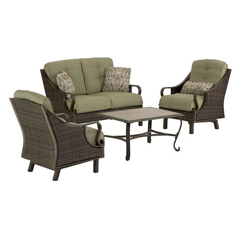 Patio Furniture Seating Sets Shop Hanover Outdoor Furniture Ventura 4 Wicker Patio Conversation Set At Lowes