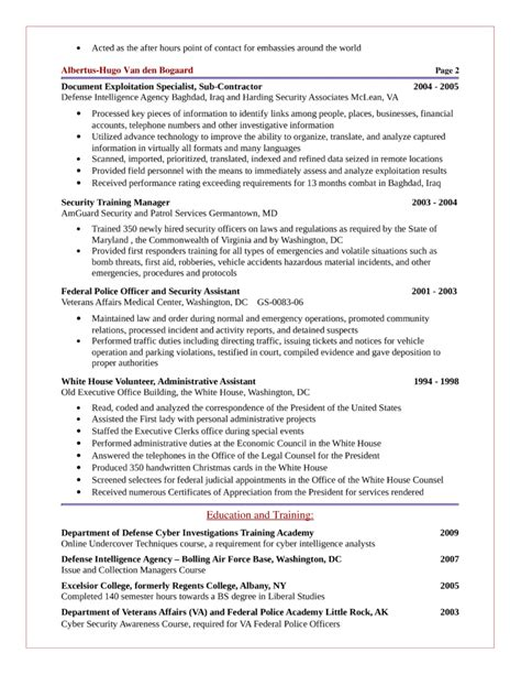 intelligence analyst resume basic intelligence analyst resume template page 2