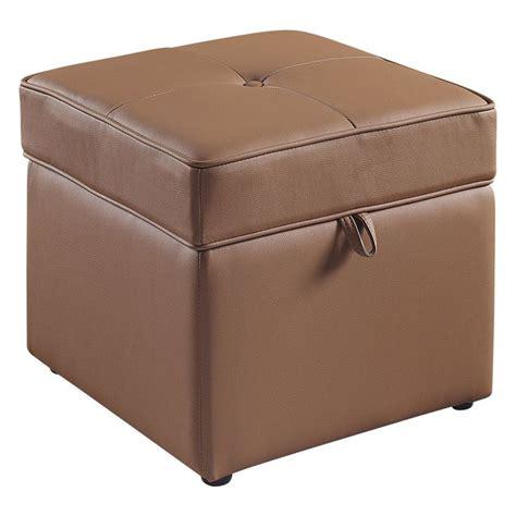 brown ottoman with storage tova faux leather storage ottoman bark brown 59 98