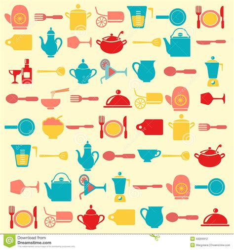 kitchen pattern background kitchen utensils pattern illustration stock illustration