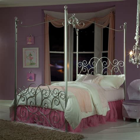 twin metal canopy bed  clear post finials  standard furniture wolf furniture