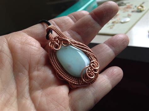 how to make copper jewelry from wire woven copper wire pendant with amazonite jewelry