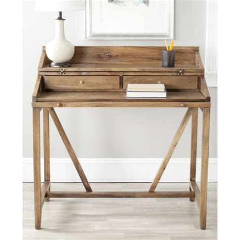 Safavieh Wyatt Oak Pull Out Writing Desk Pull Out Desk