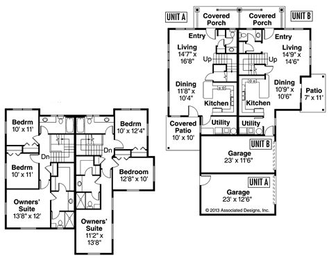 multi family house plans duplex country house plans parkridge 60 035 associated designs