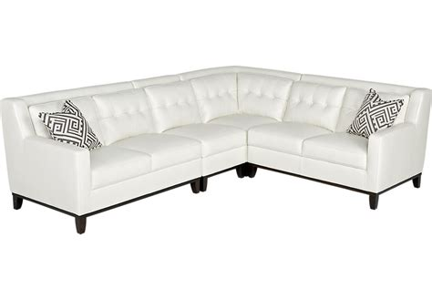 Decorative Pillows For Sofa Reina Point White Leather 4 Pc Sectional Leather Living