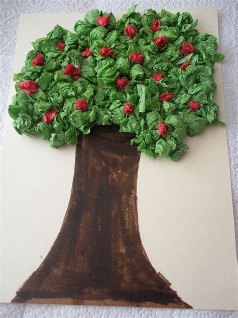 How To Make Tree In Paper - tissue paper apple tree a bit of this that